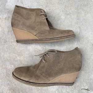 J. Crew • Leather suede wedge lace up shoes bootie